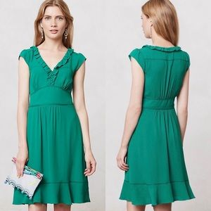 MAEVE | Ruffled True Green Della Dress Size 2